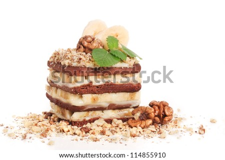 cakes with banana, walnut and cookie - stock photo