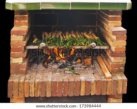 Cal���§ots, catalan sweet and young onions being roasted in the barbecue - stock photo