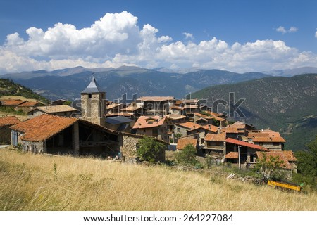 Cal Rill medieval villages in Pyrenees Mountains, near La Seu d'Urgell, Cataluna, and Ansovell, province of Lleida, off N-260 Road, Spain, Europe - stock photo
