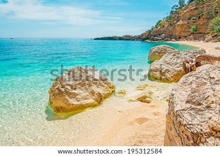 Cala Biriola on a clear day, Sardinia - stock photo