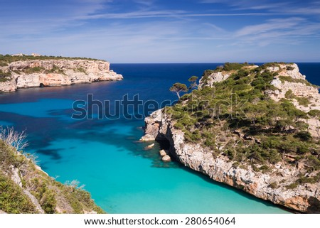 Cala des Moro - Long exposure version, Mallorca, Baleares, Spain - stock photo