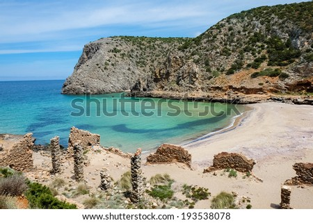 Cala Domestica beach, isolated and wild beach along the west coast of Sardinia, Buggerru, Italy - stock photo
