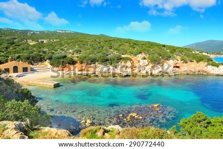 Cala Dragunara under a cloudy sky, Sardinia - stock photo