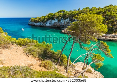 Cala Llombards. Beautiful cove with beach that is sheltered on either side by cliffs. Mallorca island, Spain.