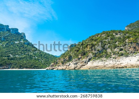 Cala Luna on a clear day, Sardinia - stock photo