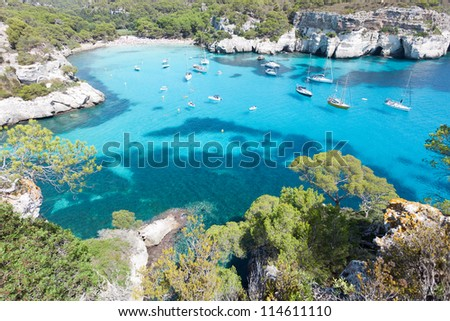 Cala Macarella - Cala Macarelleta - Menorca - Balearic islands - Spain - stock photo