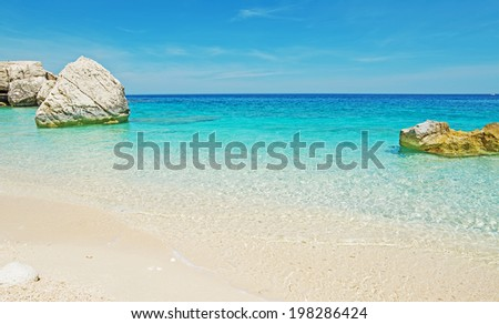 Cala Mariolu on a clear day, Sardinia - stock photo