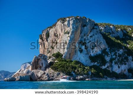 Cala Mariolu on a clear day, Sardinia - stock photo
