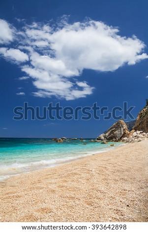 Cala Mariolu on a clear day, Sardinia, Italy - stock photo