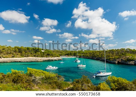 Cala Mondrago is a small beach situated within Mondrago National Park in the south east corner of Mallorca. Mallorca island, Spain.