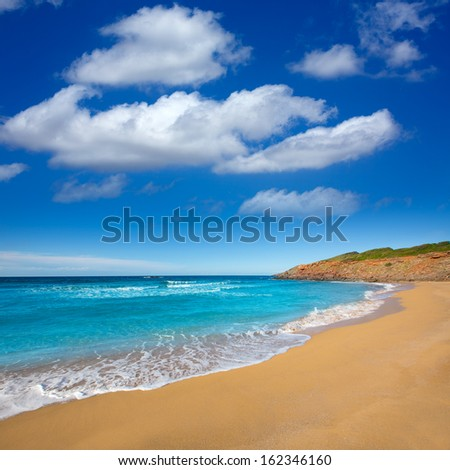Cala Pilar beach in Menorca Alfuri de Dalt at Balearic Islands of Spain - stock photo