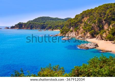 Cala Sa Boadella platja beach in Lloret de Mar of Costa Brava at Catalonia Spain - stock photo