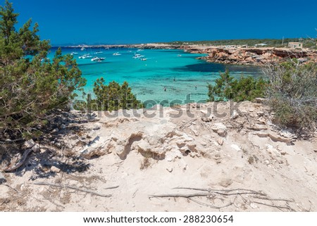 Cala Saona beach in Formentera, Spain. - stock photo