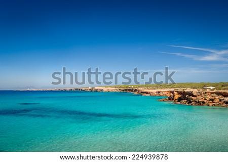 Cala Saona paradise beach at Formentera island. Balearic islands, Spain - stock photo