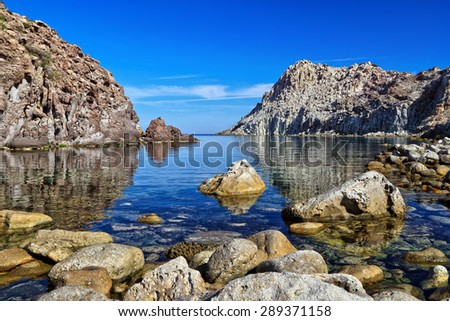 Calafico bay in San Pietro island, Sardinia, Italy - stock photo