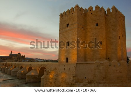 Calahorra Tower, the Roman bridge and the mosque in Cordoba (Spain), monuments of World Heritage by UNESCO - stock photo
