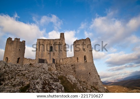 Calascio (L'Aquila) Italy: Scenery view of castle of Calascio at sunrise with a stunning sky