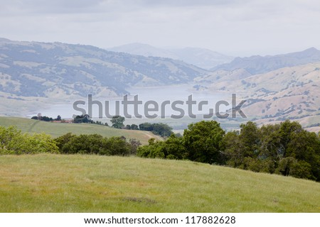 Calaveras Reservoir is a lake located primarily in Santa Clara County, California - stock photo