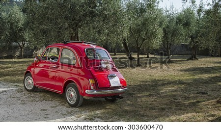 CALCI, ITALY - JULY 19: Fiat 500 decorated for a wedding in Italy July 19, 2015 in Calci, Italy.