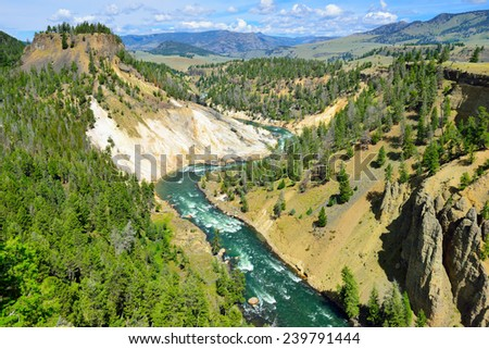 Calcite Springs near Tower Rosevelt in Yellowstone national park in summer - stock photo
