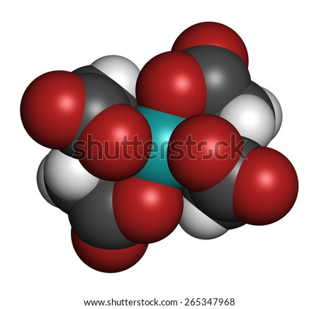 Calcium edetate (calcium EDTA) drug molecule. Medically used in chelation therapy to treat metal poisoning (mercury, lead). Atoms are represented as spheres with conventional color coding. - stock photo