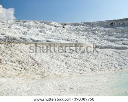 Calcium-limestone surface in Pamukkale (Turkey). - stock photo