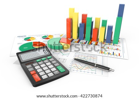 Calculate. 3d Illustration of Financial documents with colorful 3D graphs and pie charts. Pen and Calculator. - stock photo