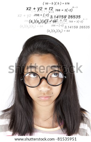 Calculate, Smart Asian girl calculate equation in her head. - stock photo