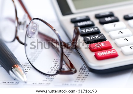 Calculating Numbers Income Tax Return Glasses Stock Photo 24490990