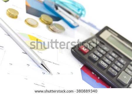 Calculation investment for new project. Preparation of statutory accounting reports. Annual financial report for companies. New projects and investments with calculation, diagrams, graphs. - stock photo