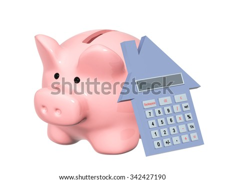 Calculation of the domestic finance. Piggy bank and calculator. Isolated on white background - stock photo