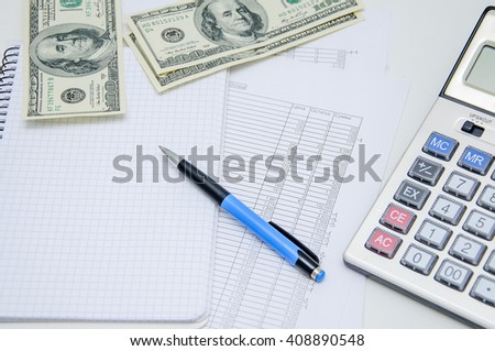 Calculation of the income. Writing of the report on work, leading of financial results. Savings, finances and economy concept - stock photo