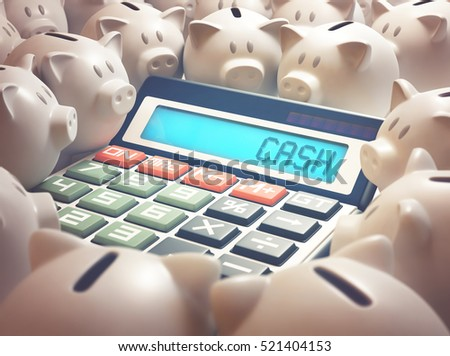 "Calculator amid several piggy banks showing on the display the word ""CASH"". 3D illustration, business and finance concept."