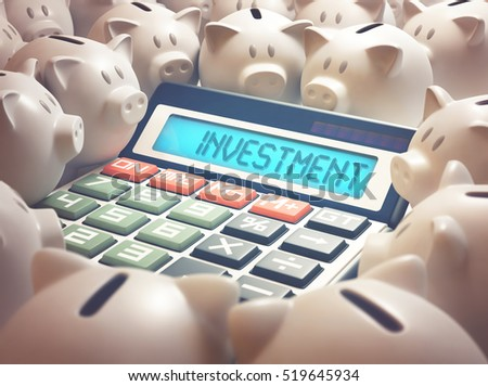 "Calculator amid several piggy banks showing on the display the word ""INVESTMENT"". 3D illustration, business and finance concept."