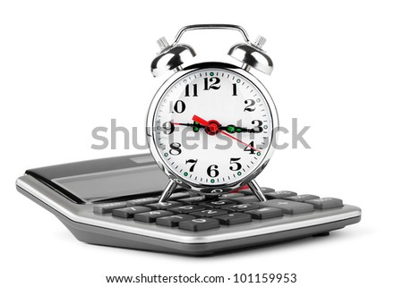 Calculator and alarm clock on a white background