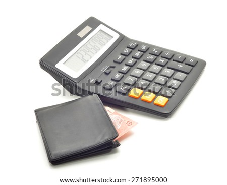 calculator and  bank note closeup. Business concept