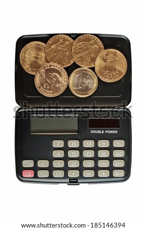 Calculator and coins of different countries, one dollar (U.S.), one euro, one grivna (Ukraine). Isolated on white background. - stock photo