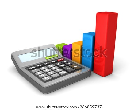 Calculator And Colorful Business Bar Chart. 3d Render Illustration