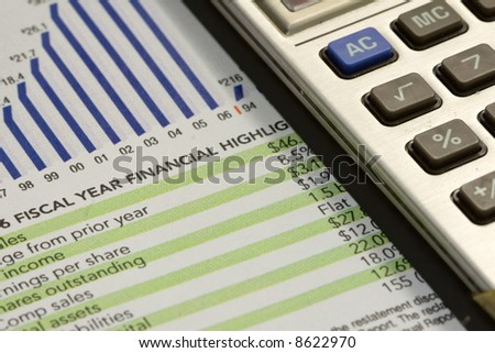 Calculator and financial figures with chart.