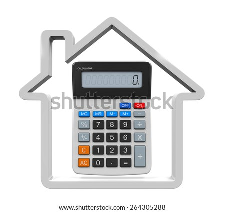 Calculator and House Icon - stock photo
