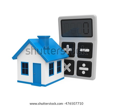Calculator and House Icon. 3D rendering