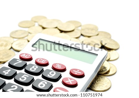 Calculator and japanese coin