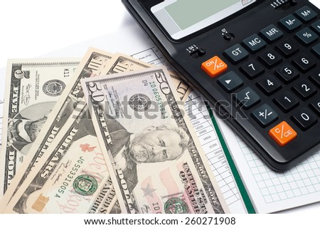 Calculator and money on a notepad. Background image for finance and banking - stock photo