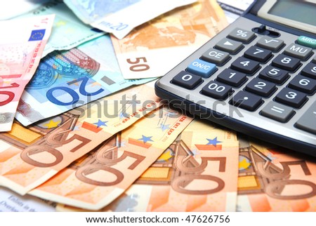calculator and paper euro background