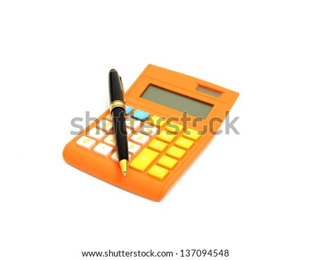Calculator and pen on white - stock photo