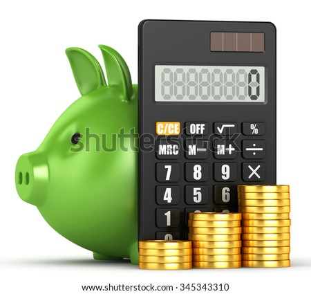 Calculator and piggy bank with coins - stock photo