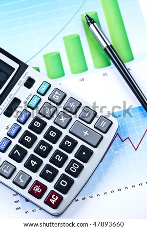 Calculator and Report - stock photo
