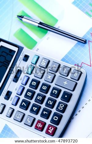 Calculator and Report - stock photo