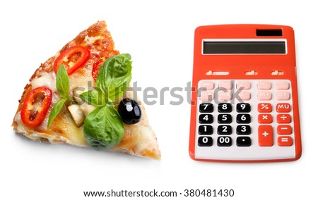 Calculator and slice of delicious pizza isolated on white - stock photo
