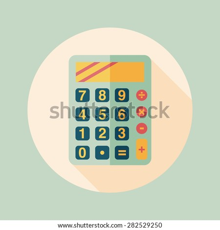 calculator flat icon with long shadow,eps10 - stock photo